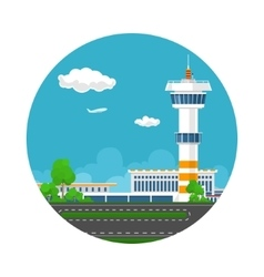 Icon runway at the airport with control tower vector