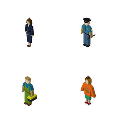 Isometric person set of officer plumber lady and vector