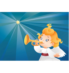 Kid angel musician flying on a night sky makin vector