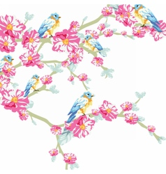 Llustration blooming tree and pigeons vector