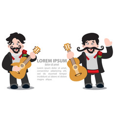 Mariachi with a guitar mexican musician two dark vector