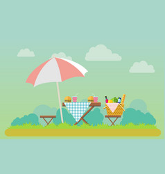 outdoor picnic in park vector image vector image