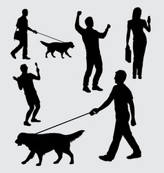 people walking with dog silhouette vector image