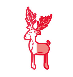 Red silhouette of funny reindeer stand with big vector