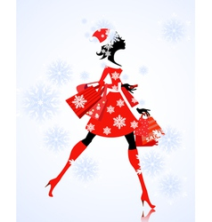 santa girl with gifts and shopping vector image vector image