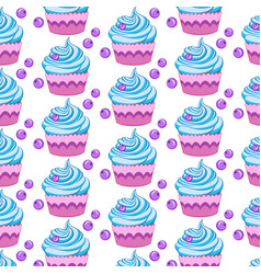 seamless pattern with different cupcakes on a vector image vector image