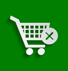 Shopping cart with delete sign paper vector