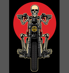 skull riding motorcycle vector image vector image