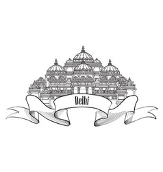 Travel delhi sign indian landmark famous vector