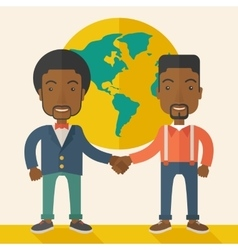 Two black guys happily handshaking vector