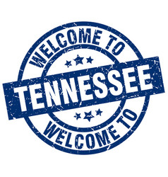 welcome to tennessee blue stamp vector image