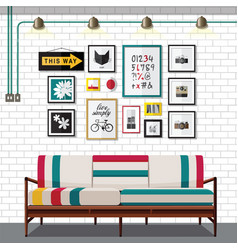 White country living room vector