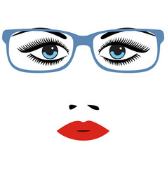 Woman beautiful eyes with glasses vector