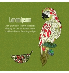 Zentangle stylized cartoon parrot vector image