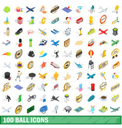 100 ball icons set isometric 3d style vector