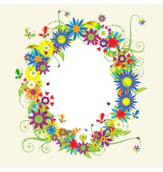 floral frame summer vector image
