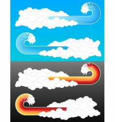 Splash wave cloudy elements vector