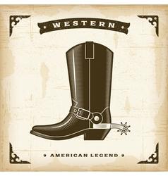Vintage western cowboy boot vector