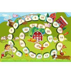 Farm board game vector