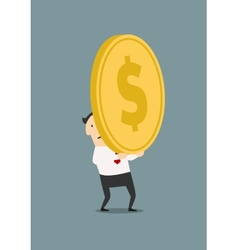 Businessman with huge golden coin vector