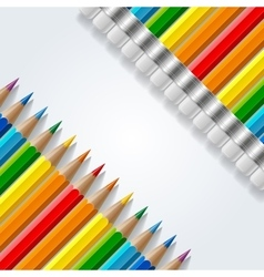 Two diagonal rows of rainbow colored pencils with vector