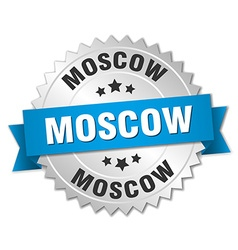 Moscow round silver badge with blue ribbon vector