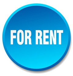 For rent blue round flat isolated push button vector