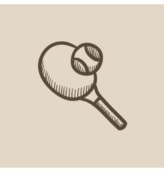 Tennis racket and ball sketch icon vector