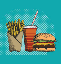 a hand drawn menu of junk food in vector image vector image
