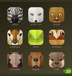 Animal faces for app icons-set 20 vector
