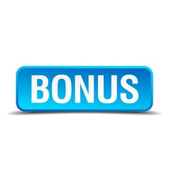 Bonus blue 3d realistic square isolated button vector