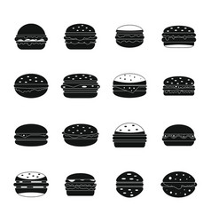 burger icons set simple style vector image