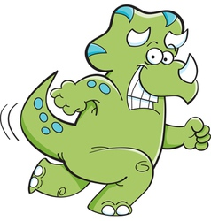 Cartoon Triceratops Running vector image vector image