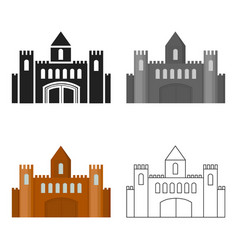 castle icon cartoon single building icon from the vector image vector image