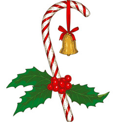 christmas candy cane with mistletoe and bell vector image