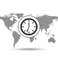 clock time social media world map vector image vector image