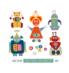 Colorful clipart set with retro robots vector