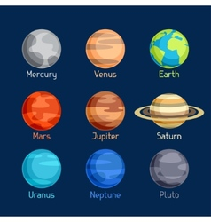 Cosmic icon set of planets solar system vector