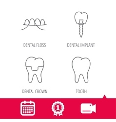Dental implant floss and tooth icons vector