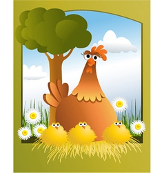 Easter card with chickens vector image vector image