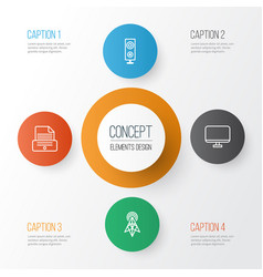 Gadget icons set collection of wireless router vector