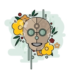 Geometric of skull with flowers on vector