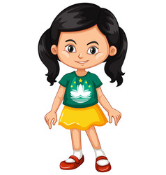 Girl wearing shirt with macau flag vector
