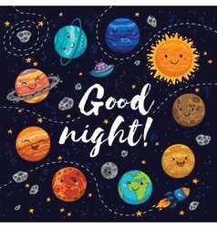 Good night - hand drawn poster with planets stars vector image
