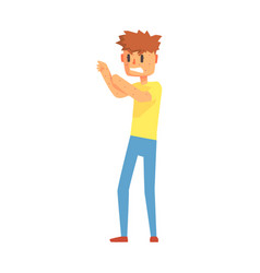Guy scratching arms covered in pimples adult vector