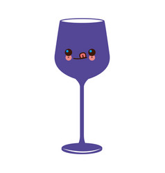 Kawaii wine glass cup image vector