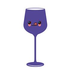 kawaii wine glass cup image vector image