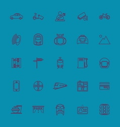 Land transport related line color icons vector image