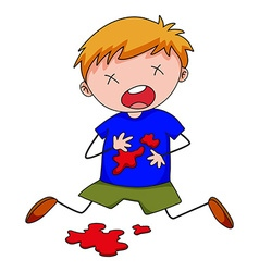 Little boy with blood stain on shirt vector