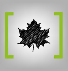 Maple leaf sign black scribble icon in vector